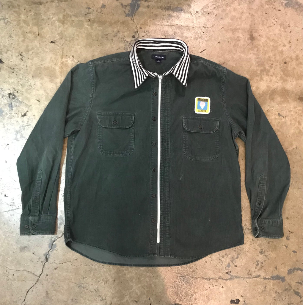 Yokishop - Zipper Front Corduroy Stripe Shirt