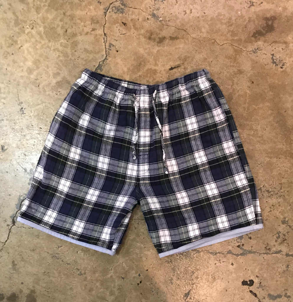 Yokishop - Classic Blue Tartan Plaid Pajama Reversible Shorts