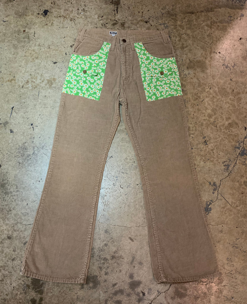 "Yokishop - ""Green Sunflower"" Corduroy Pants"