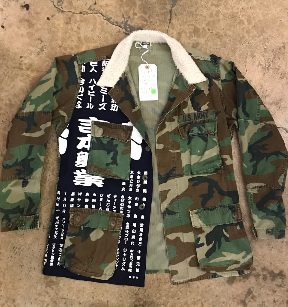 Yokishop - Military Jacket w/ Japanese Panel & Sherpa Collar