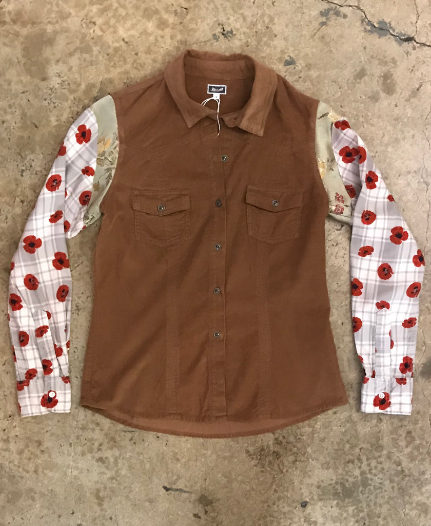 Yokishop - Re-Issued Fine Wale Corduroy Shirt w/ Plaid Floral Satin Sleeves