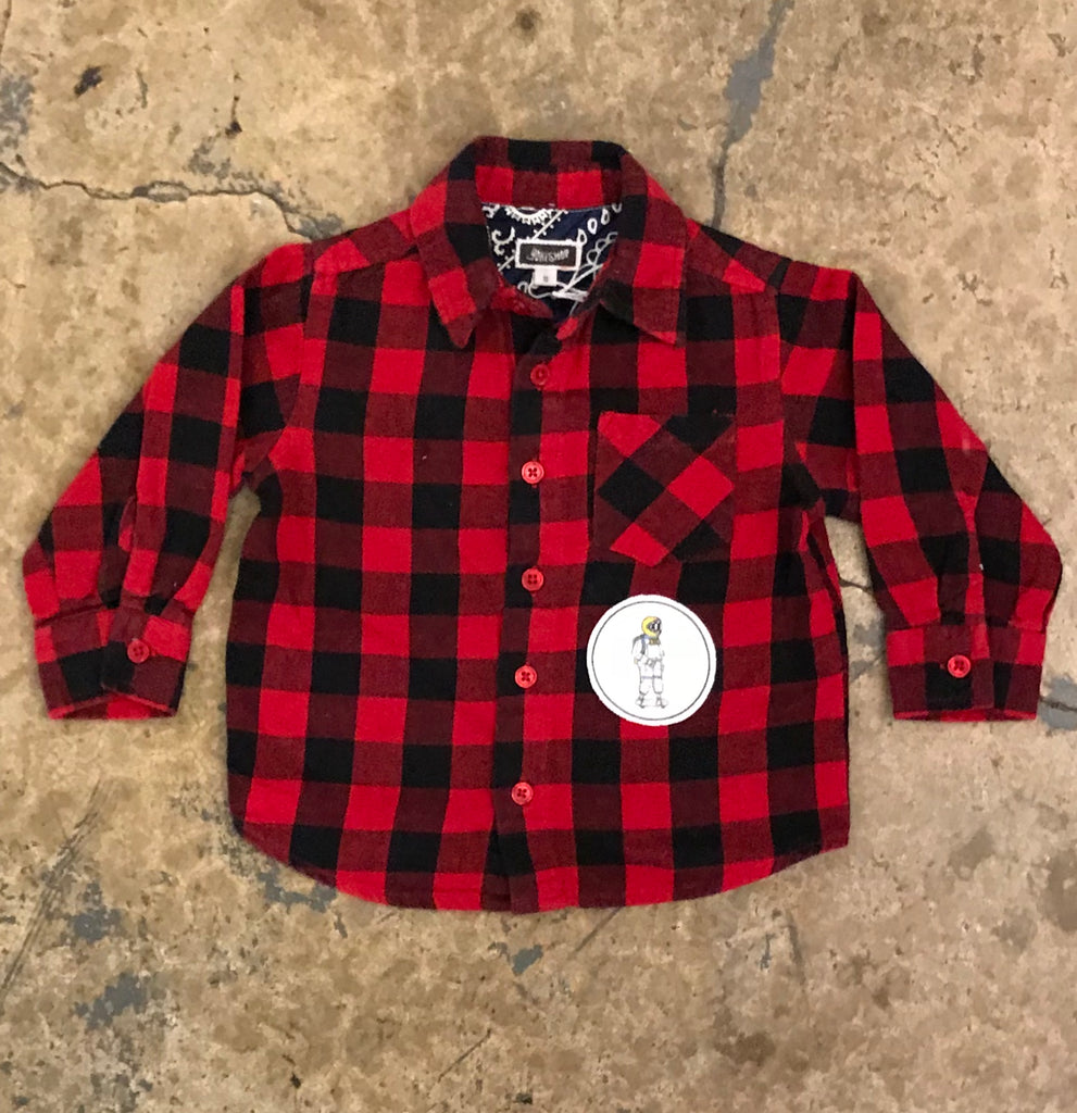 Yokishop - Red / Black Buffalo Plaid Flannel (Kids)