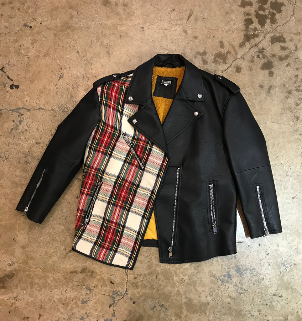 Yokishop - Women's Black Leather / Plaid Jacket