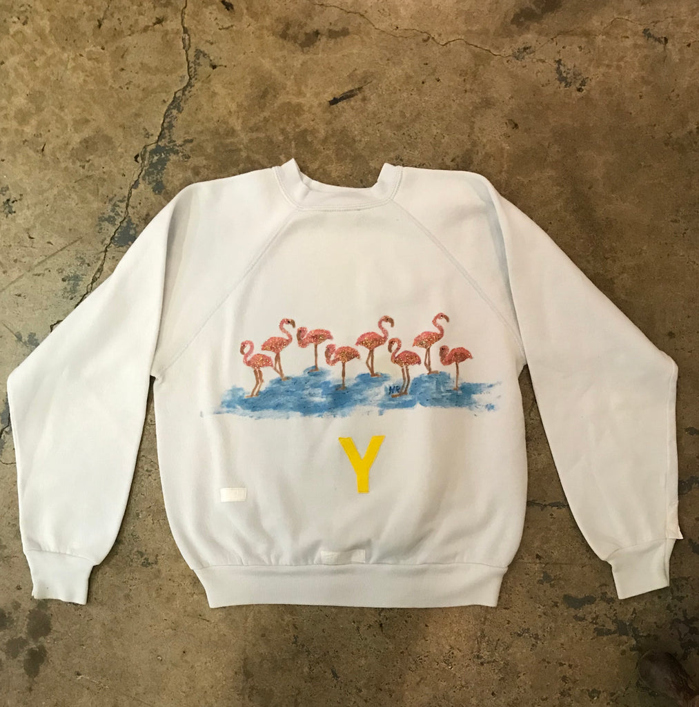 Yokoyama - Hand Painted Flamingo Sweatshirt