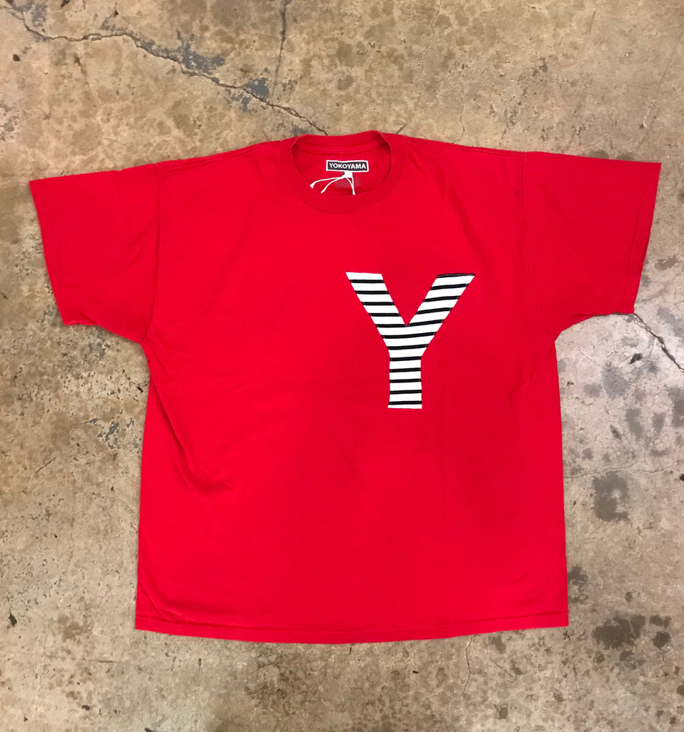 Yokoyama - Red Tee w/ Navy & White Striped Y