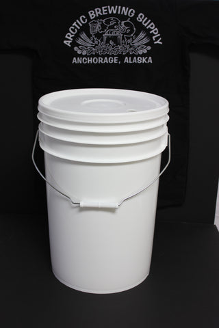 6 Gallon, Food-Grade Plastic Bucket Fermenters with Drilled Lid (1
