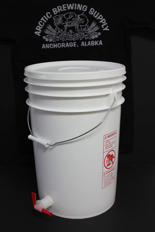 6 Gallon, Food-Grade Plastic Bucket Fermenters with Drilled Lid and Spigot