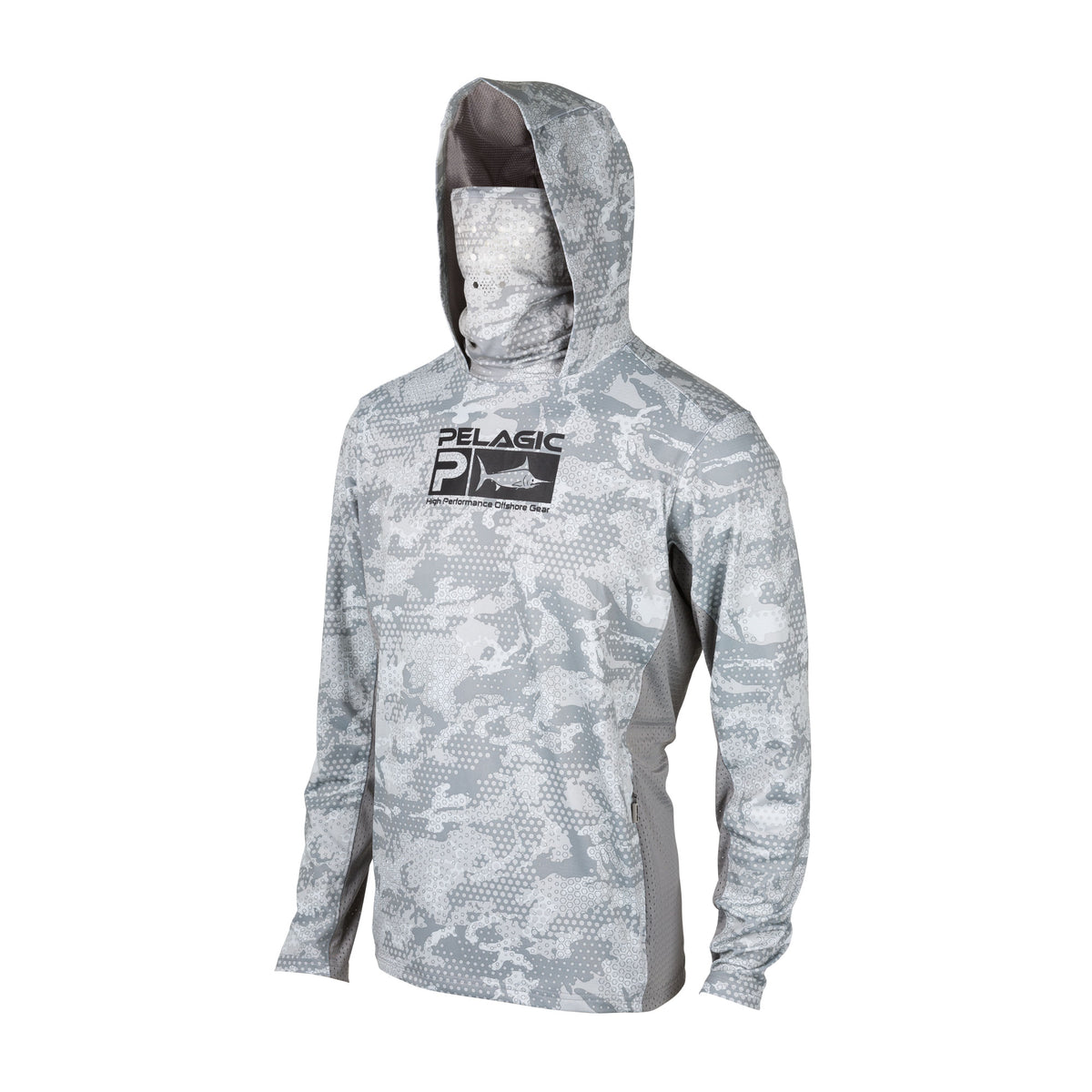 Performance Fishing Hoodie with Face Mask Hooded Sunblock Shirt Sun Shield Long Sleeve Shirt UPF50 Dry Fit Quick-Dry