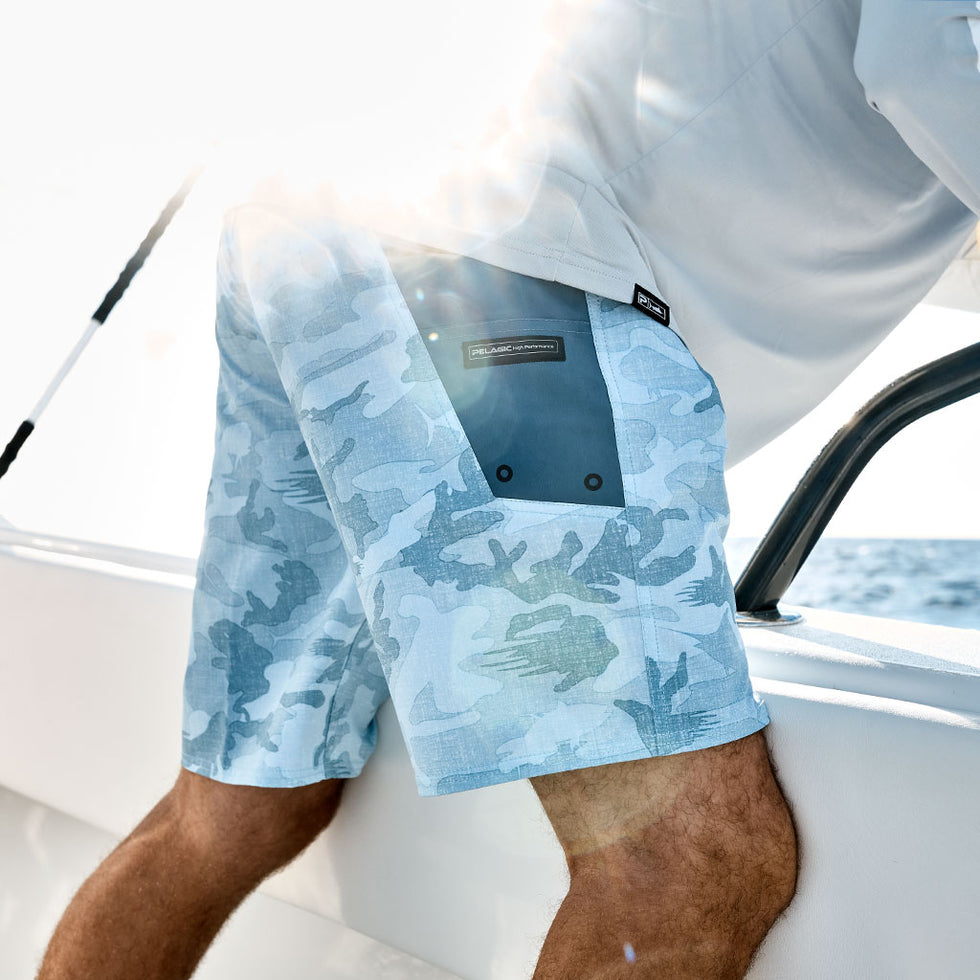 Ocean Master Camo Fishing Shorts Big Image - 7