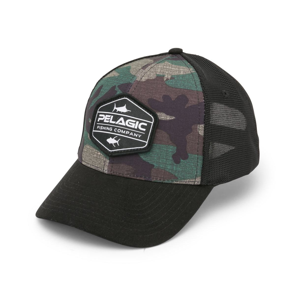 Pelagic High Performance Offshore Print Fishing Adjustable Hat in Americamo Grey