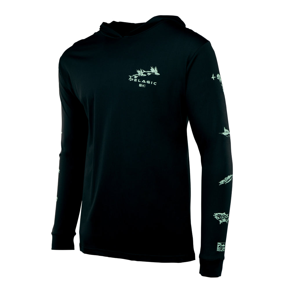 Aquatek Hoodie Fishing Shirt - Gyotaku Big Image - 2