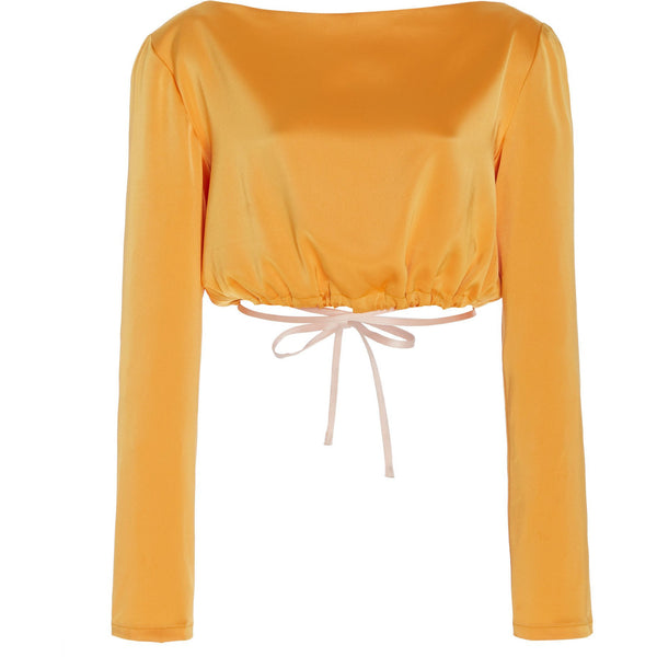 Charlotte cropped tie-detailed satin blouse