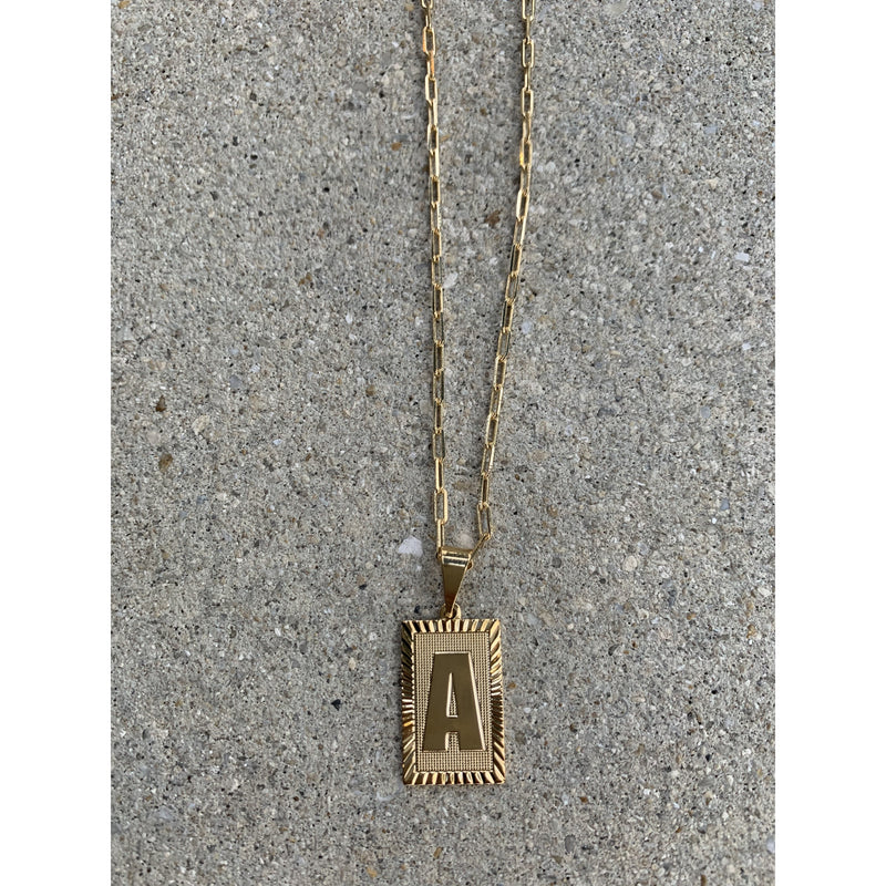 Initial medal necklace| Women's Clothing Boutique