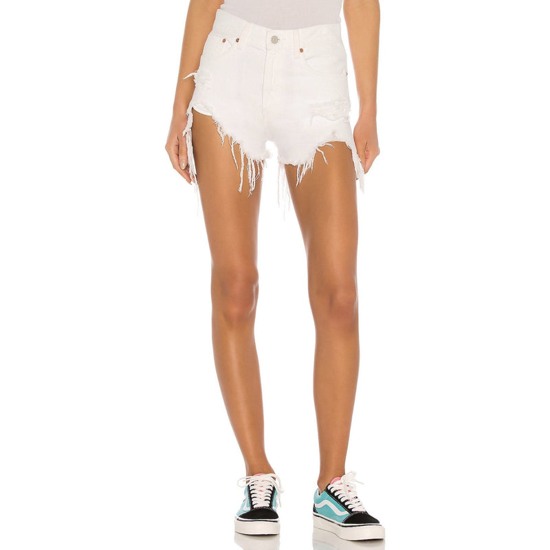 Nic High Rise Cutoff Shorts in White Destroyed