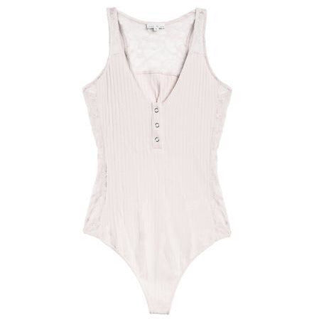 Puff Lace Insert Ribbed Bodysuit | Women's Clothing Boutique