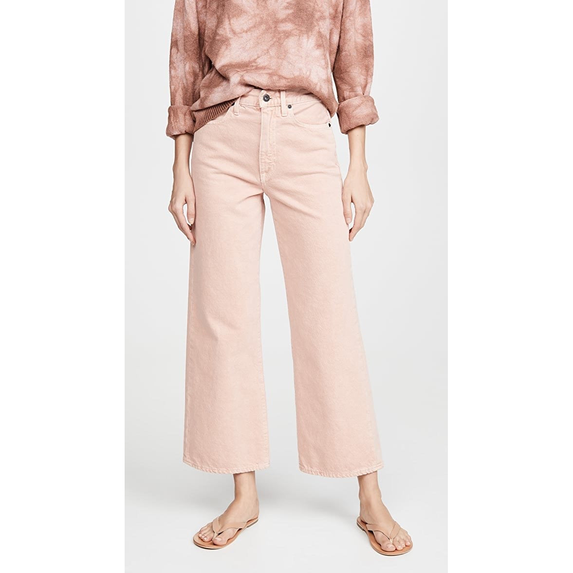 Grace frayed high-rise flared jeans in Dusty Pink