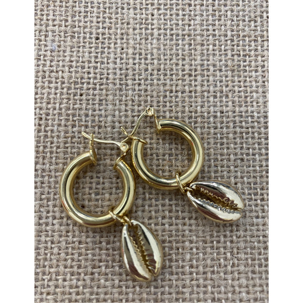Gold Puka Earrings