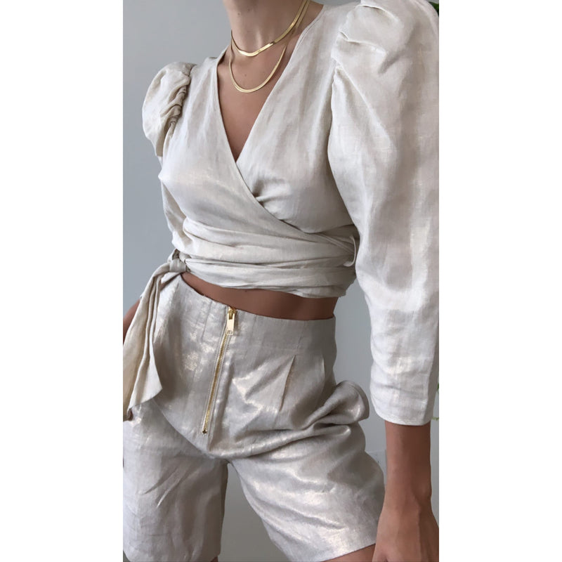 Linen Wrap Top | Women's Clothing Boutique