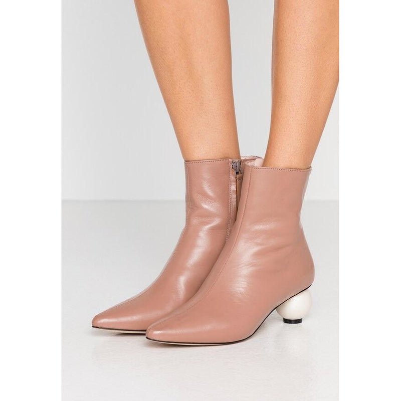 Leather Boot With Pearl Heel | Women's Clothing Boutique