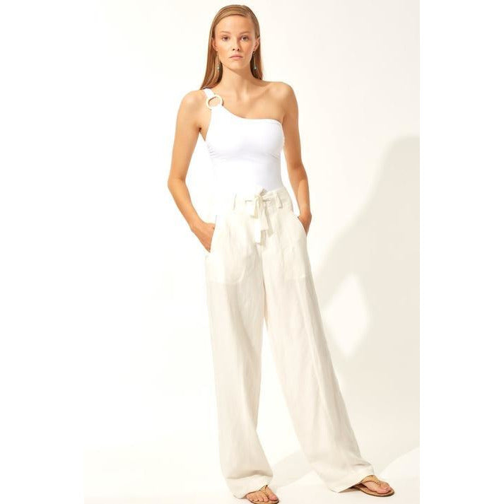 TAILORED PANTS OFF WHITE LINEN