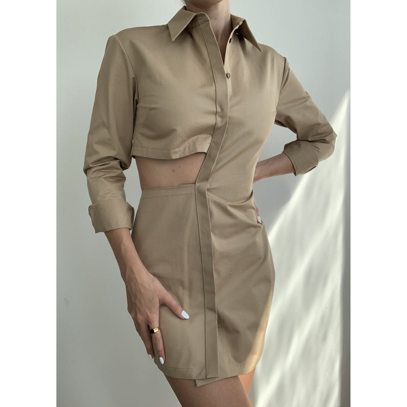 Cutout Mini Shirt Dress