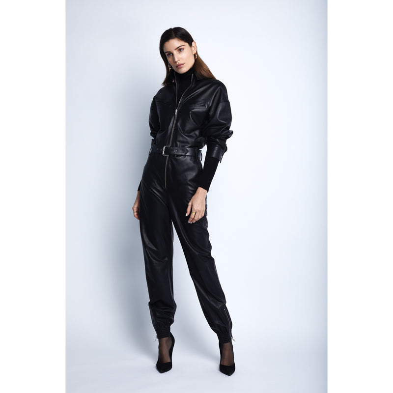Vegan Leather Jumpsuit | Women's Clothing Boutique