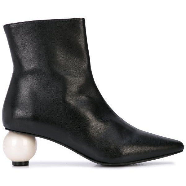Leather Boot With Pearl Heel