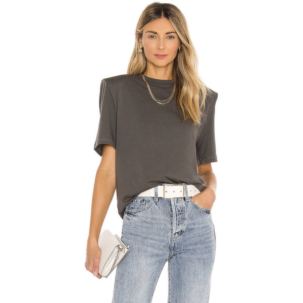 Pima Cotton Removable Shoulder Pad Tee | Women's Clothing Boutique