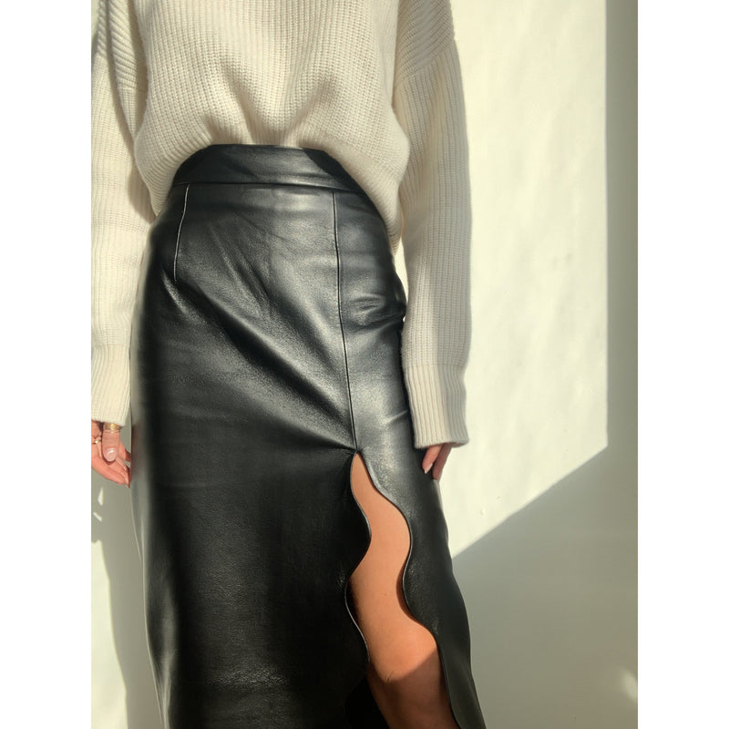Faux Leather Wave Skirt | Women's Clothing Boutique