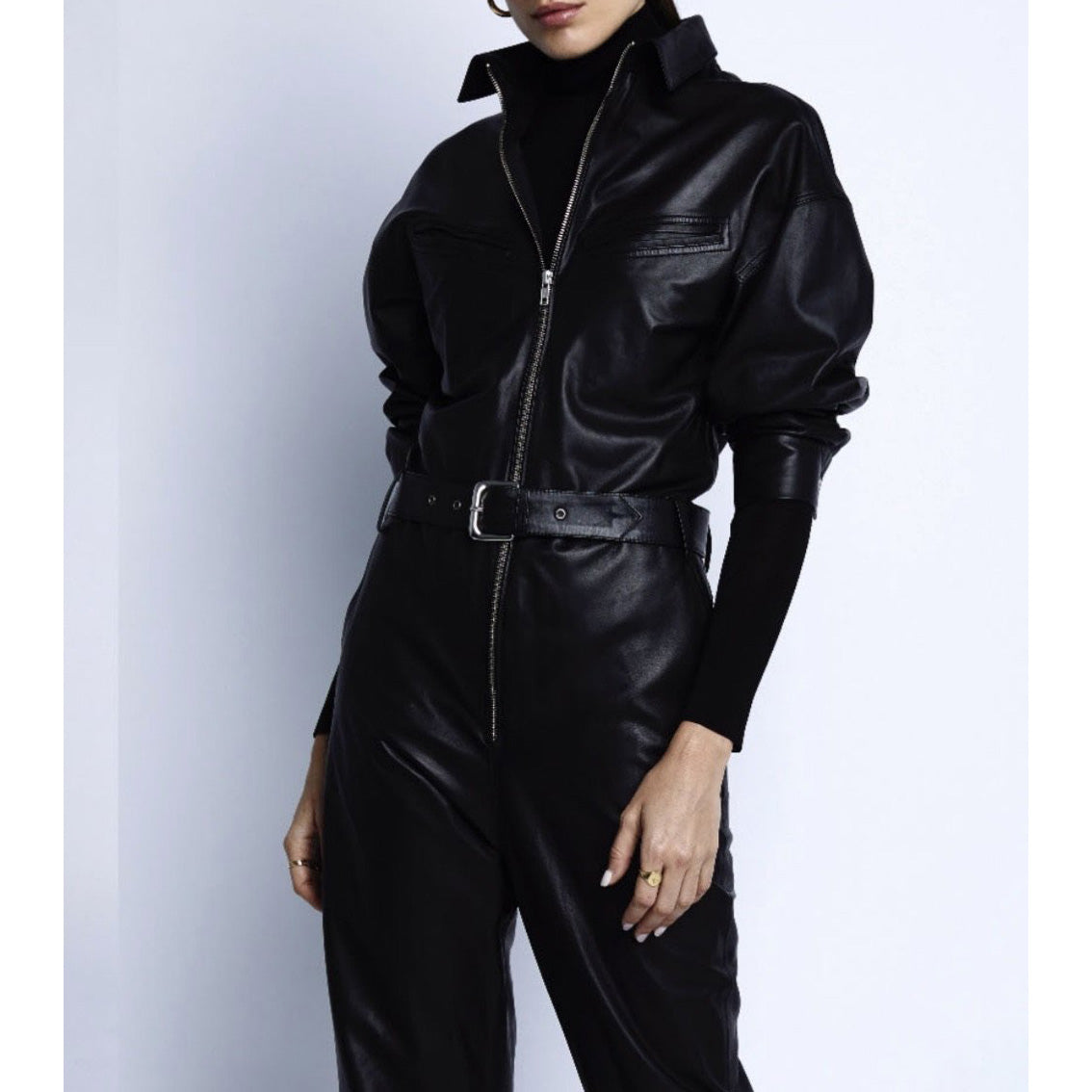Vegan leather jumpsuit