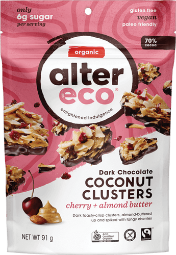 Alter Eco Dark Chocolate Coconut Clusters Cherry and Almond Butter 91g