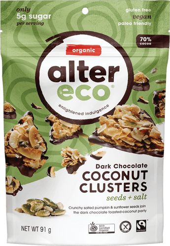 Alter Eco Dark Chocolate Coconut Clusters Seeds and Salt 91g