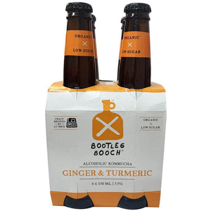 Bootleg Booch Alcoholic Kombucha Ginger and Tumeric 4 x 330ml