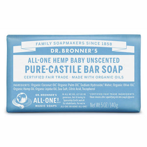Dr Bronner's Baby Unscented Pure Castile Bar Soap 140g