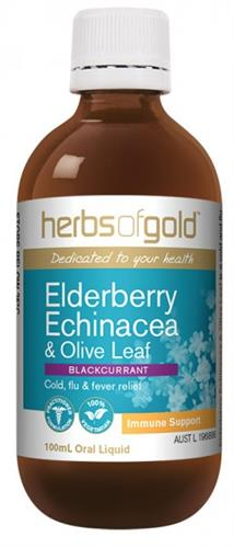 Herbs Of Gold Elderberry, Echinacea and Olive Leaf Oral Liquid 100ml