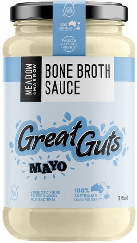 Meadow and Marrow Bone Broth Sauce Great Guts Mayo 375ml