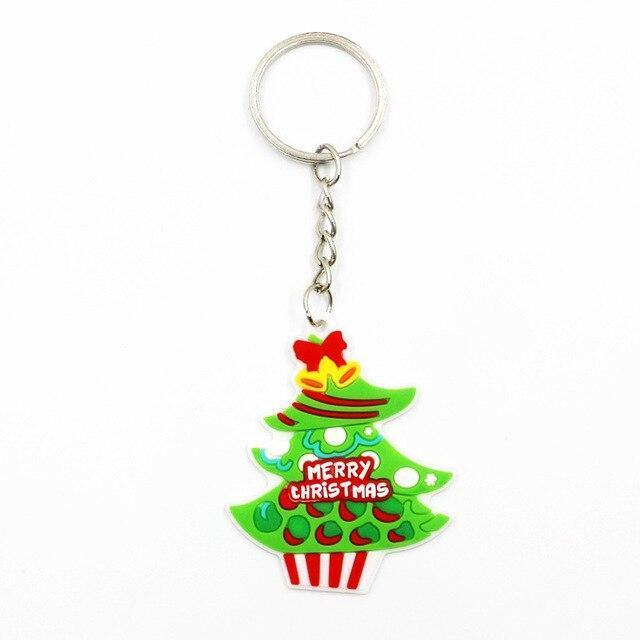 Wholesale 100pcs Cartoon Christmas Tree Socks Snowman Deer Santa Claus Key Chains pvc Xmas Promotional Gift Keyrings