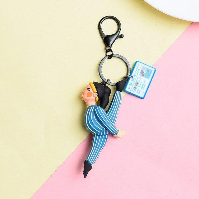 Korean Cute Gymnastics Dancing Patient Key Chain Women Charms Funny PVC Rubber Couple Keychains Car Bag Keyring Valentines Gift