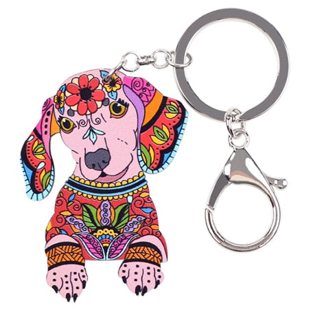 Acrylic Statement Dog Jewelry Dachshund Key Chain Key Ring Pom Gift For Women Girl Bag Charm Keychain Pendant Jewelry