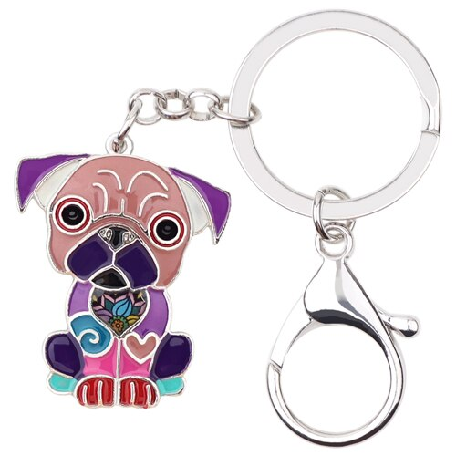 Metal Enamel Sitting French Bulldog Pug Dog Key Chains Keychain Keyrings Jewelry For Women Girls Pendant Bag Car Charms