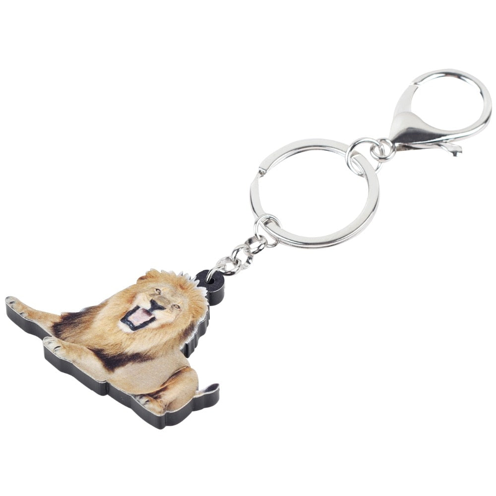 Acrylic Roaring Lion Key Chains Keychain Rings Africa Animal Jewelry For Women Girls Teens Handbag Car Charms Gift Bulk
