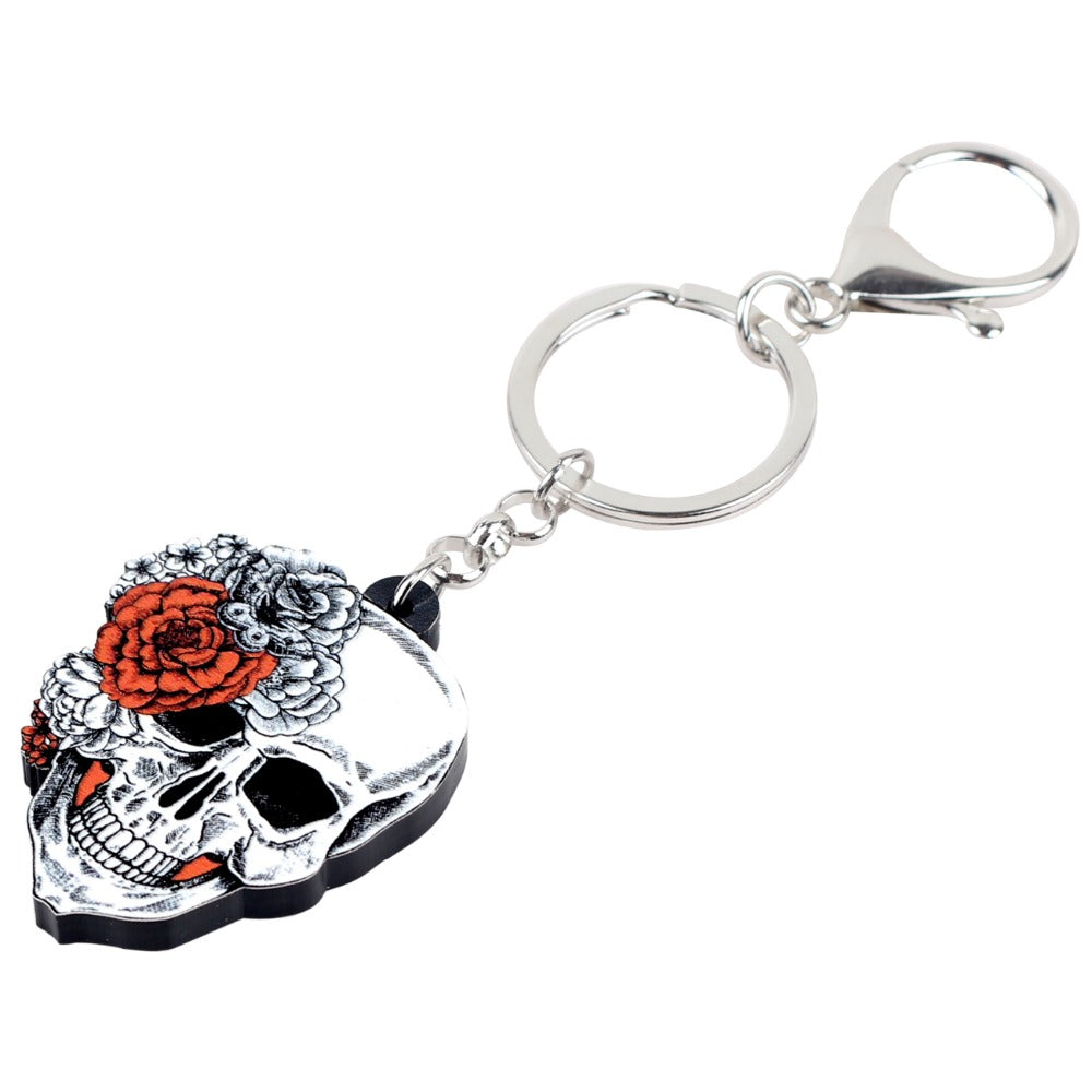 Acrylic Halloween Fashion Flower Skull Key Chain Keychains Rings Punk Jewelry For Women Girls Ladies Car Bag Purse Charms