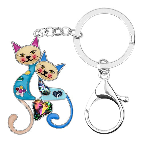 Enamel Alloy Rhinestone Double Cat Key Chains Keychains Ring Pets Jewelry For Women Girls Best Friends Bag Charms Gift