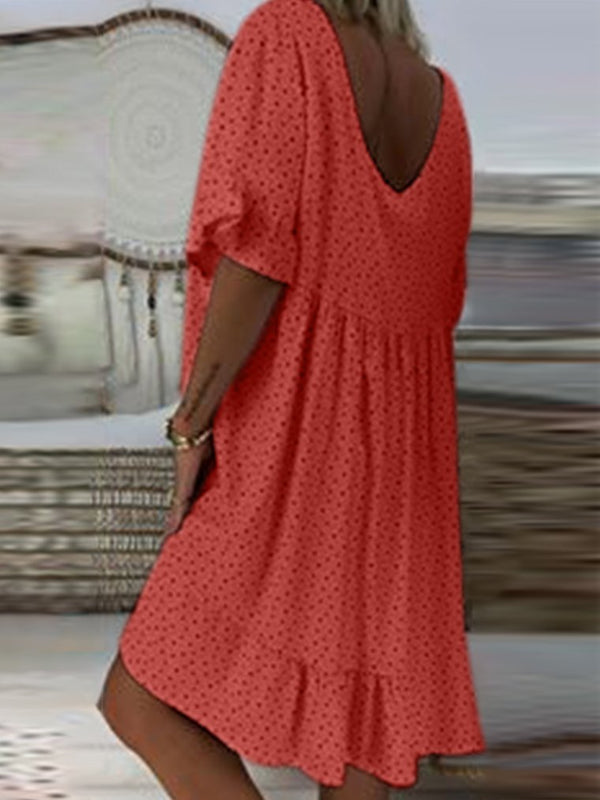 Vintage Short Sleeve V Neck Dresses
