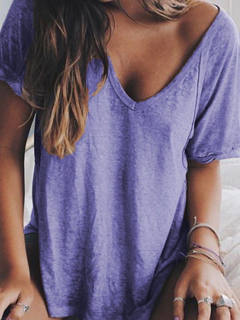 Summer V neck Loose T Shirts