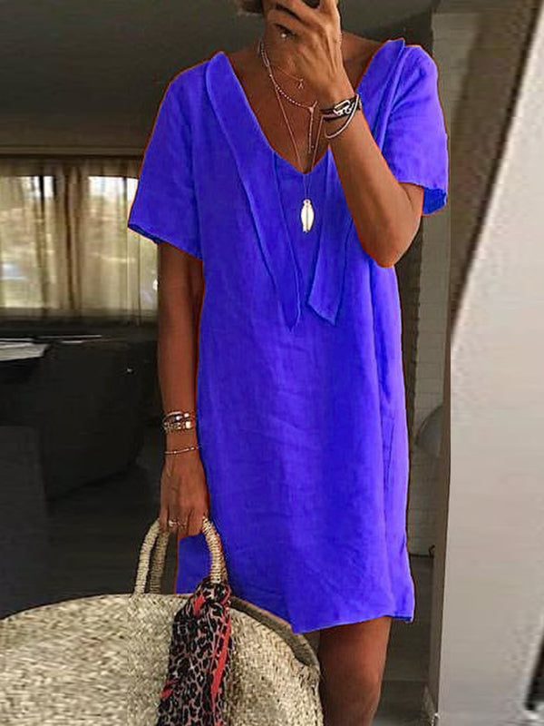 Patchwork Short Sleeve V Neck Casual Dresses