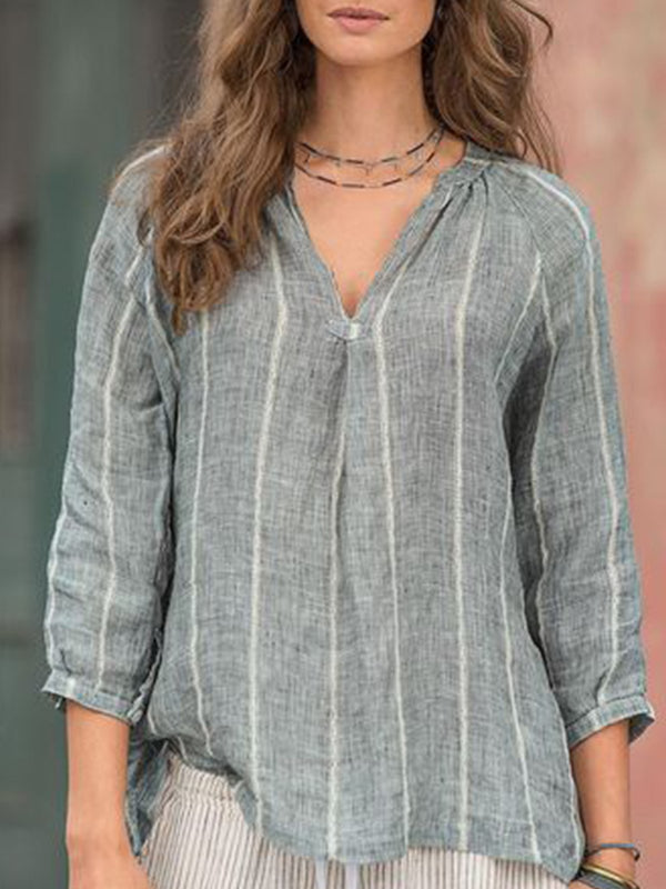 Light Gray Cotton-Blend Casual Shirts & Tops