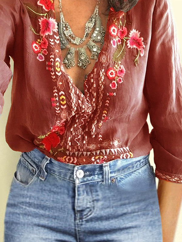 V Neck Floral Long Sleeve Blouses