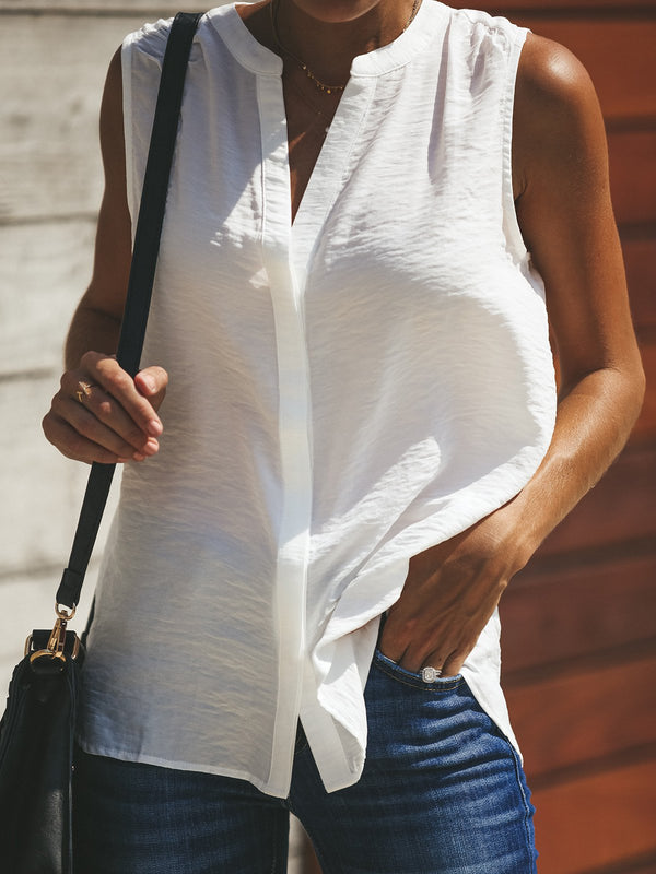 Concealed Button Down Neckline Tanks