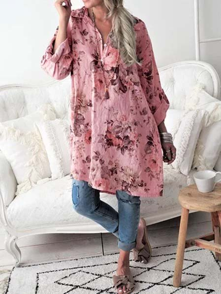 Floral Long Sleeve Shirt Collar Blouse